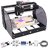 2-in-1 2500 m W 3018 Pro-M CNC Router Kit, GRBL Control 3 Axis Wood Plastic Acrylic PCB PVC Carving Milling Engraving Machine with Offline Controller, CNC Router Bits, ER11 Collects
