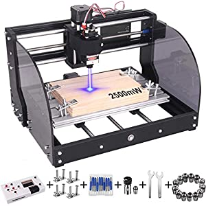 2-in-1 2500 m W 3018 Pro-M CNC Router Kit, GRBL Control 3 Axis Wood Plastic Acrylic PCB PVC Carving Milling Engraving…