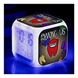 rfvg Among Us Alarm Clock, 7 Colors Automatic Changing, Colorful Night Light with Clock + Thermometer (D)
