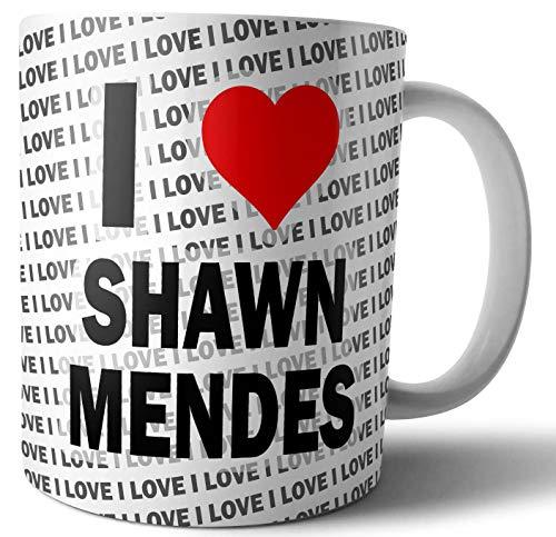 Taza con texto en inglés 'I Love Shawn Mendes – té – café – taza – cumpleaños – Navidad – regalo