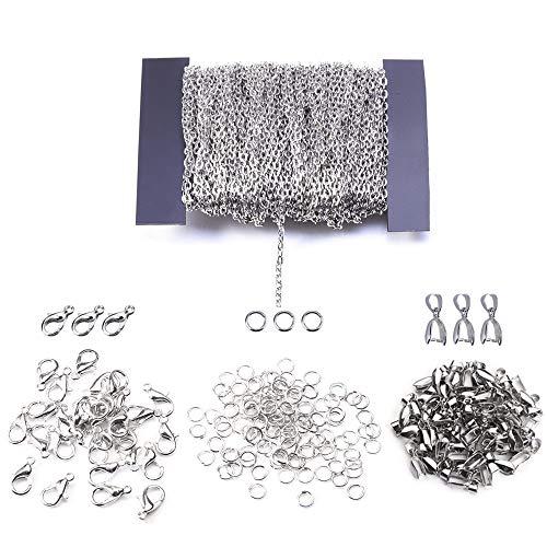 Nsiwem Ketten zum basteln 39 ft Link Kette Halsketten 2 * 3 mm Gliederkette DIY Chain mit 30 Karabiner Verschlüsse, 30 ösen für schmuckanhänger und 100 Sprung Ringe