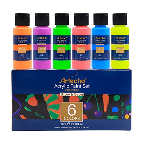 Artecho Acrylic Paint Set for Art Painting, Decorate, 6 Neon and Glow in the Dark Colors 2-in-1 2 Ounce/59ml Acrylic Paint Supplies for Wood, Fabric, Crafts, Canvas, Leather&Stone