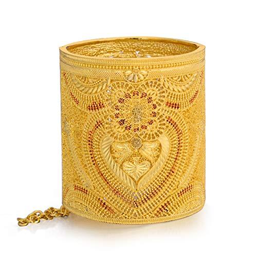 AMTBBK 24K Gold Plated Bangle Flowers Bracelet Hollow Pattern Bracelet 3.03Inch Width Women Bracelet Bangle Bride Bracelet