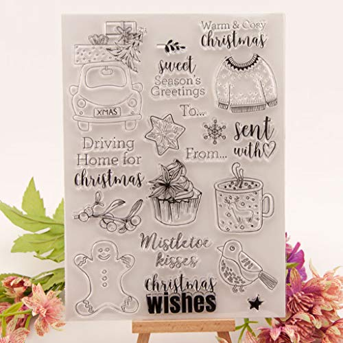 ECMQS Weihnachten Mantel DIY Transparente Briefmarke, Silikon Stempel Set, Clear Stamps, Schneiden Schablonen, Bastelei Scrapbooking-Werkzeug
