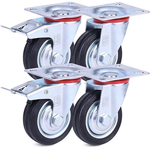 H&S Rueda giratoria para muebles con ruedas giratorias de goma de servicio pesado con frenos 75mm Negro