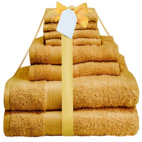 Midland Bedding Handtuch-Set aus Baumwolle, 400 g/m² Fadenzahl, Senffarben, 8-teilig