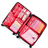 BAIGM Juego de organizadores de equipaje multifuncionales, organizador de equipaje, impermeable, set de 7 piezas, para viajes, ropa, cosméticos, bolsa de zapatos