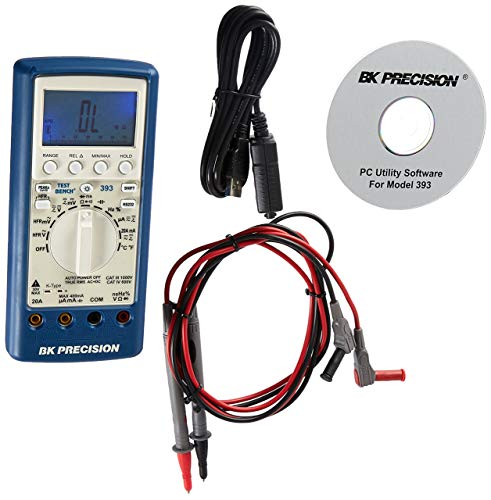 B&K Precision 393 True RMS Handheld Multimeter with USB Interface, 60000 Count