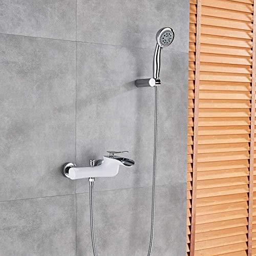 Wieoc Douchesysteem Witte badkuiparmaturen chroom baddouche set chroom badkuip mengkraan Dual Control douche wandmontage kraan voor badkuip wastafel