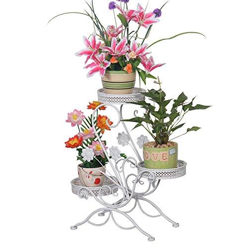 FullBerg 3 in 1 Blumenständer Metall Blumentreppe Blumenregal Pflanzregal, 69x65x22cm, Dekoratives Pflanzenständer für Innen-Balkon Wohzimmer Outdoor Garten Deko (Weiß)