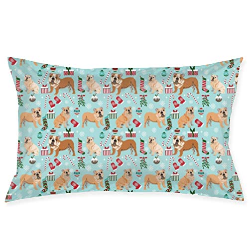 Bulldog Tela de Navidad para perro, tela de Navidad, Bulldog Inglés, tela Bulldog Inglés, funda de almohada azul claro de 50,8 x 76,2 cm, funda de cojín para sofá, coche, funda de cojín cuadrada