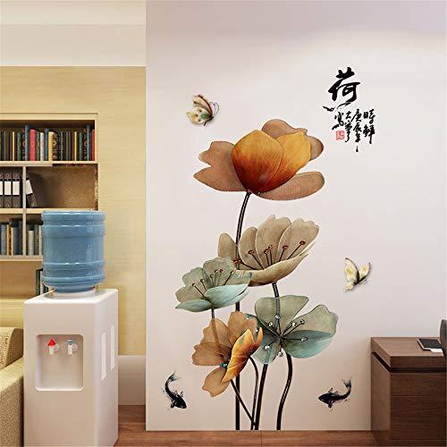 DERUN TRADING Mariposa, Pez de Colores y Lotus Pegatinas de Pared Pegatinas de Viento Chinas Pintado Autoadhesivo Sala de Estar TV Fondo Pegatinas de Pared