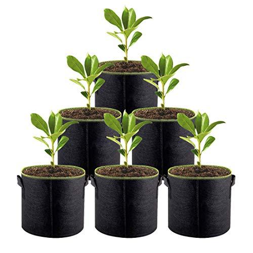 ACYOUNG Pflanzsack aus Vliesstoff, 6 Stück 3 Gallonen/5 Gallonen/7 Gallonen/10 Gallonen Pflanze Grow Bag für Kartoffeln, Tomaten, Gemüse, Kräute