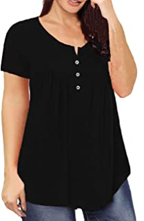 DIOLOCA Women's Tops Plus Size Henley Shirts V Neck Button Up Blouses Ruffle Pleated Tunics Short Sleeve Tops