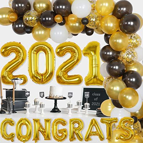 JOYMEMO Decoraciones Fiesta graduación 2021 Arco Guirnalda Globos Negros y Dorados felicitaciones la Escuela Secundaria Clase Universidad 2021 Suministros decoración graduación