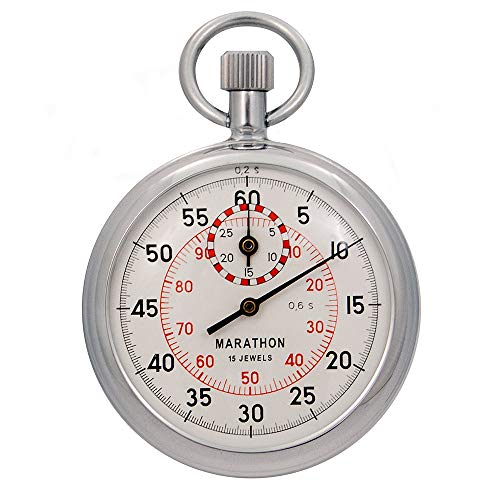 Marathon ST211003 Mechanisch Stopwatch. Single Action Wind Up (Dual 1/5th sec. & 1/100ste min. afstuderingen). Commerciële graad.