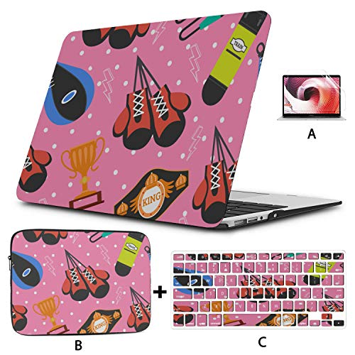 Macbook Pro Shell Case Colorful Creative Leather Boxing Gloves Macbook Pro 2017 Accessories Hard Shell Mac Air 11'/13' Pro 13'/15'/16' With Notebook Sleeve Bag For Macbook 2008-2020 Version