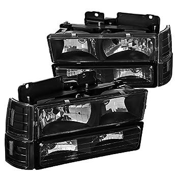 Spec-D Tuning Black Headlights + Bumper Lights Corner Lights + Clear Reflectors Left + Right Pair for 1994-1998 GMC C10 C/K Sierra