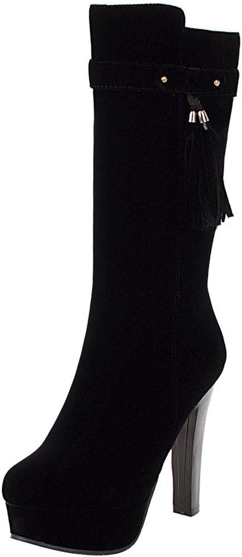 KemeKiss Womens High Heels Boots Mid Calf Tassel Boots Round Toe Platform shoes Zipper Boots