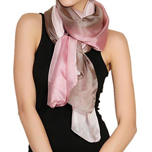 MEISHINE® 180 * 110cm Damen Elegant Seidenschal – Frauen Pashmina aus 100% Reiner Seide (Style 1)