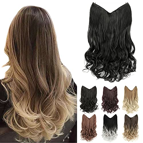 """GIRLSHOW 20"""" Halo Hair Extensions 4.41 Oz Synthetic Curly Wavy Long Invisible Transparent Wire Adjustable Size Heat Resistance Fiber No Clip Hairpieces for Women Girls (Jet Black -#120, 20 Inch) -  MAYSA"""
