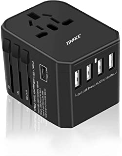 Travel Adapter,TryAce Universal USB-C International Power Adapter,Worldwide Plug Adaptor with 4 USB Ports 1 Type-C 3.0A All in Travel Adapter for 150 Countries (Black)