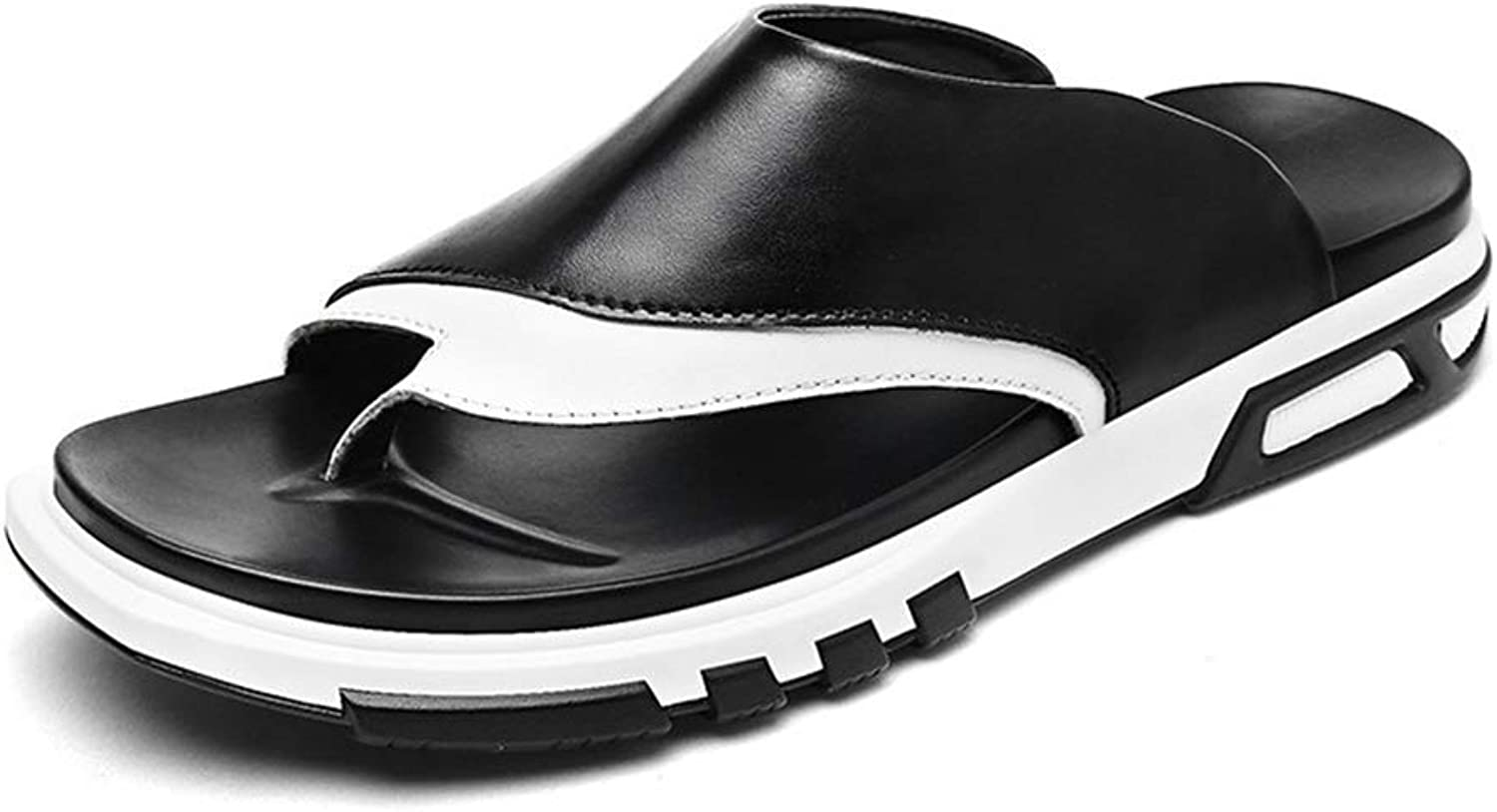 ZHRUI Men Flip Flops Casual Leather shoes Summer Fashion Outdoor Beach Sandals Men Slippers (color   Black, Size   6.5=40 EU)