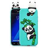 HopMore Compatible con Funda Samsung Galaxy A5 2017 Silicona Dibujo 3D Divertidas TPU Gel Kawaii Ultrafina Case Antigolpes Caso Protección Design Carcasas Gracioso para Samsung A5 2017 - Cyan Panda