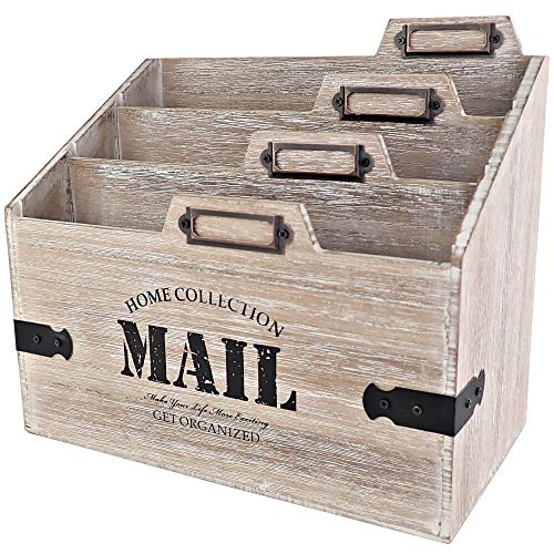 25DOL - Mail Organizer Desktop Mail Holder - Wooden Desk Organizer, File Holder and Mail Sorter - 5.5 x 9.8 Inch Letter Sorter - Rustic Desk Organizers and Accessories, File Folder and Mail Tray