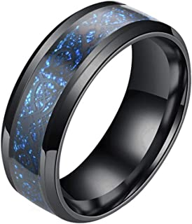 EXCOW خواتم التنين السلتي للرجال النساء 8 مم لومينوس الفولاذ المقاوم للصدأ خاتم الزفاف