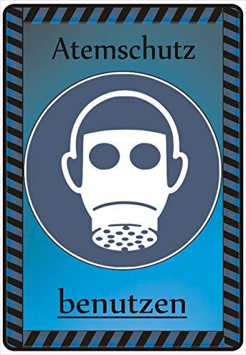 Netspares 140084902 Schild Hinweisschild Hinweis Atemschutz benutzen Maske Gasmaske Gefahr Vorsicht