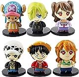 6 Pcs/Set 7cm Anime Cartoon One-Piece Figure Luffy Tony Tony Chopper Nami Sanji Collectible Model Figure Toy