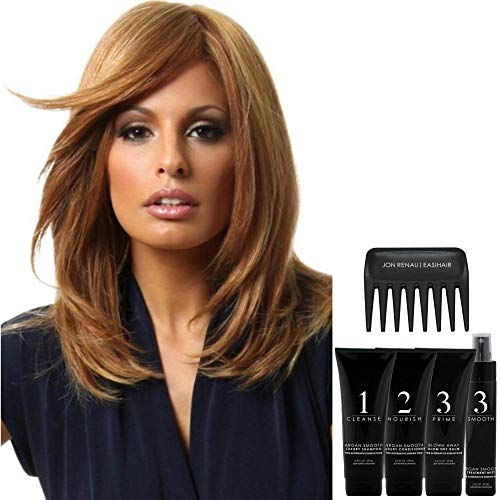 Bundle - 7 items: Bravo by Raquel Welch Human Hair Wig by Raquel Welch, Christy's Wigs Q & A Booklet Luxury Shampoo & Conditioner Blown Away Treatment Mist Wide Tooth Comb - Color: R14/88