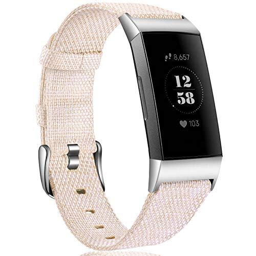 Ouwegaga Woven Armband Kompatibel mit Fitbit Charge 4 Armband/Fitbit Charge 3 Armband, Ersatzband Gewebte Stoff Armband Kompatibel mit Fitbit Charge 3/Charge 4, Klein Beige