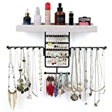 Jewelry Organizer Wall Mounted Rotating Jewelry Holder Hanging Storage Display for Necklaces Bracelet Earring Ring Vintage White