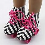POHOVE Patines Ruedas Patineta Botas Hielo Juguetes Accesorio Cumpleaños Mini Zapatos Brillantes Moda Niñas Entretenimiento para bebés para muñecas Americanas 18 Pulgadas(En Blanco y Negro)