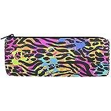 Bolsa de lápices Abstract Animal Print, Estuche de lápices Bolso de cremallera Bolso Bolsa de maquillaje Bolsa de pincel de maquillaje para oficina de trabajo escolar, 7.7X7.7X20.5Cm