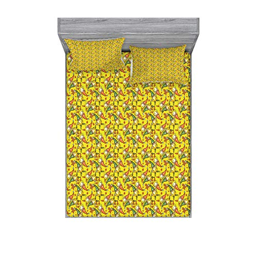 Ambesonne Gnome Bedding Set with Sheet & Covers, Funny Forest Elves with Autumn Leaves Fall Season Garden Caricature Pattern, Printed Bedroom Decor 2 Shams, Queen, Yellow Green