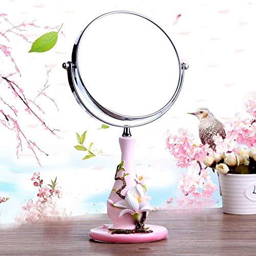 Rétroviseur intérieur compact Salle de bains Miroirs 360 ° Vanity Hauteur Maquillage Miroir grossissant réglable ~ double face 3x / 1x ~ Magnified 7,87 pouces de diamètre, 15 pouces Hauteur Miroir de