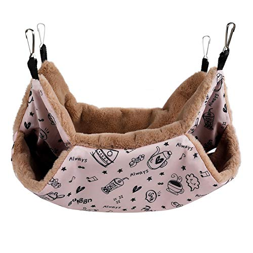 Petmolico Small Pet Hanging BunkBed Warm Hammock Bed Cage Accessories Bedding Hideout Playing Sleeping for Parrot Sugar Glider Ferret Squirrel Hamster Rat, Pink...