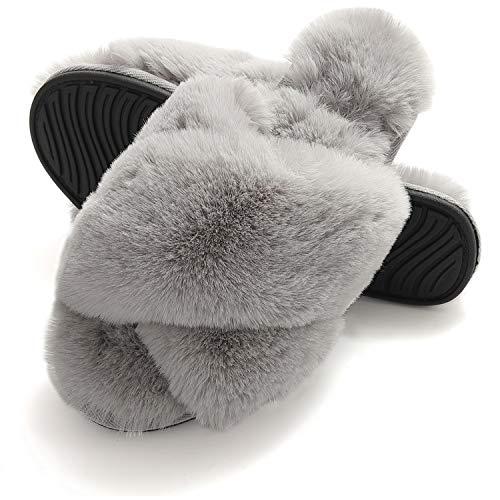 Fur Slippers for Women, Cross Band Plush Fleece Anti-Skid Memory Foam Slip On Fuzzy Slide Slippers for Indoor Outdoor Grey 9.5-10.5
