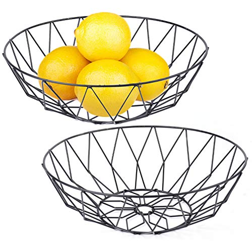 Yesland 2 Pack Fruit Basket/Dish - Black Wire Metal Fruit Bowl 10.5 x 3.5 x 5.5 Inches for Kitchen & Living Room Use
