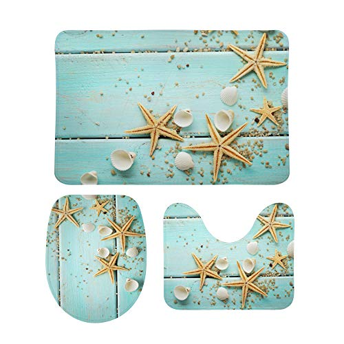3 Pieces Bathroom Rugs Sets Non Slip Coral Fleece Absorption Extra Soft Durable Bath Carpet Accessories for Tub Shower Bedroom Entryway Starfish Shells on Wooden Board Pattern