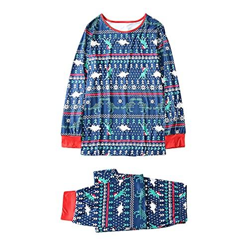 Pigiama di Natale, per la famiglia, la mamma e il papà e le bambine, per l'inverno, pigiama a forma di Babbo Natale, pantaloni da notte e pupazzo di neve lunghi, Dado verde., XL