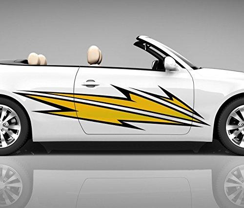 2x Seitendekor 3D Autoaufkleber Blitze gelb Digitaldruck Seite Auto Tuning bunt Aufkleber Seitenstreifen Airbrush Racing Autofolie Car Wrapping Tribal Seitentribal CW141, Größe Seiten LxB:ca. 160x40cm