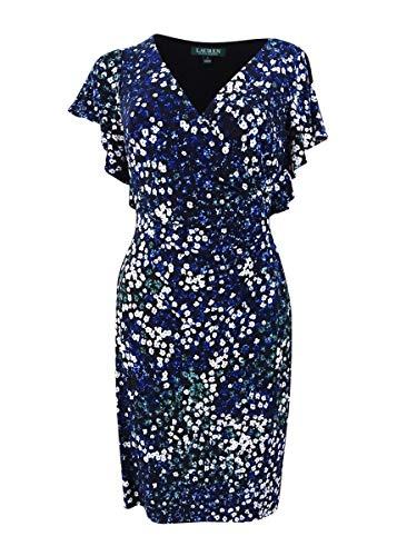 Lauren by Ralph Lauren Damen-Etuikleid, Rüschen, Blumenmuster, Blau