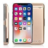 Epuirie - Funda batería para iPhone X, 10 000 mAh, con función de audio, portátil, con batería de apoyo para iPhone X, portátil, funda batería con cargador. dorado