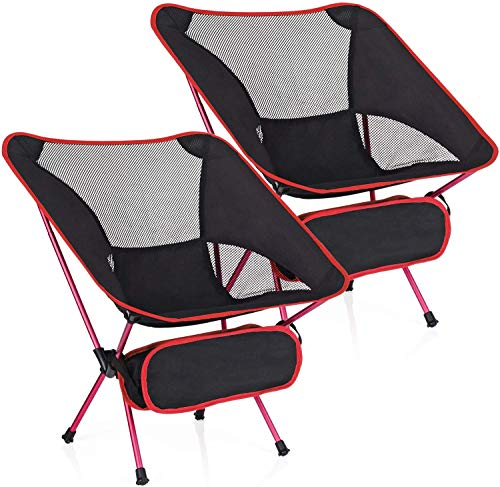 MH Zone 2 Pack Camping Chair Backpacking Chair Portable Compact Ultralight Outdoor Folding Hiking Chair with Carry Bag for Outdoor Beach (2 Pack of Red)
