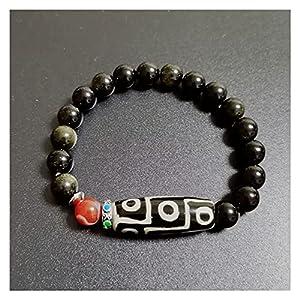 Natürliche tibetische Dzi Agate Armbänder Heilung Chakra Buddha Gebet neun Eyed Charm Goldene Obsidian Perlen Agat Armbänder Männliche Böse Spirituosen Geld Zeichnen Reichtum Vermögen
