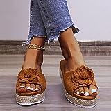 XLBHSH Zapatillas De Cuña De Verano Transpirable Zapatillas De Plataforma De Tacón Alto para Mujer Sandalias Y Pantuflas con Plataforma De Cuerda De Cáñamo,Marrón,35